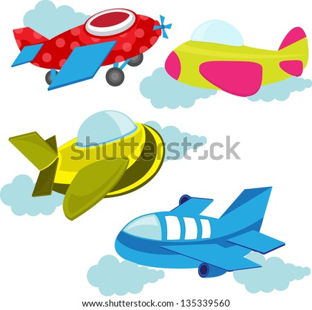 set of cute airplanes - stock vector