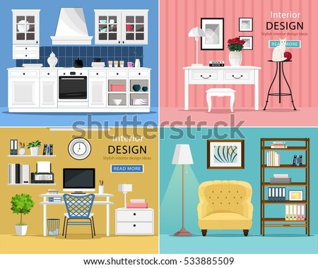 Set cute colorful graphic interior design stock vector for Apartment design vector