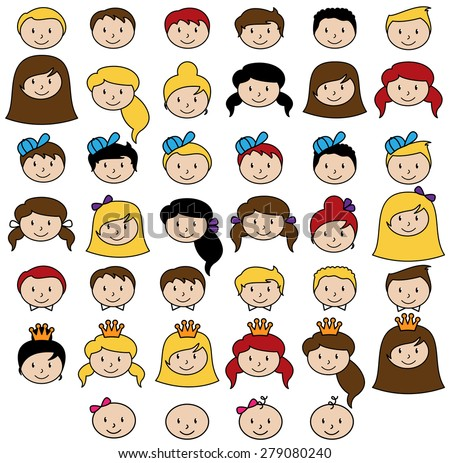 Set of Cute and Diverse Stick People Heads in Vector Format - stock vector