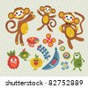 Set of cute and funny monsters and animals. Vector illustration. - stock vector