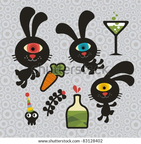 Set of cute and funny monsters rabbits. Vector doodle illustration.