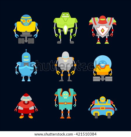 Set of cute and funny vintage robots. Robot collection isolated on dark background.