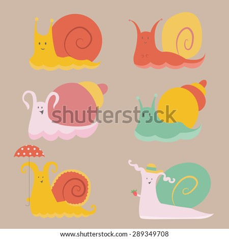 Happy Snails Wallpaper Set of Cute And Happy Snails