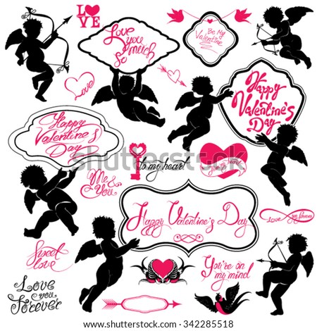 Set of cute angels, Calligraphic text Happy Valentine`s Day, hearts and birds isolated on white background. Elements for holiday card design elements.  - stock vector