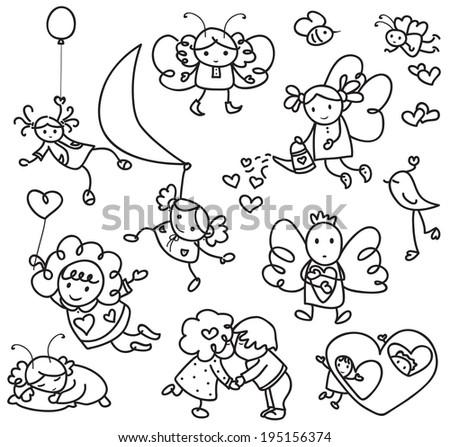 Set of cute angels cartoons. - stock vector