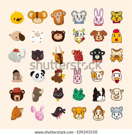 set of cute animal face icon - stock vector