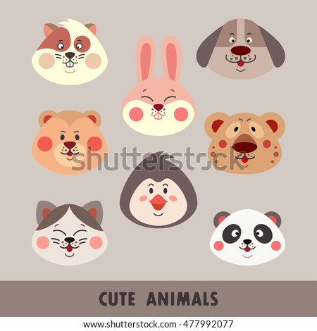Set of cute animal faces including panda, dog, cat, bear, rabbit, penguin, hamster and leopard isolated on beige background. Cute colorful animals collection in cartoon style. Vector illustration.
