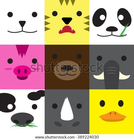 Set of cute animal faces - simple art - polar bear, tiger, panda, pig, brown bear, elephant, cow, rhino, duck - stock vector