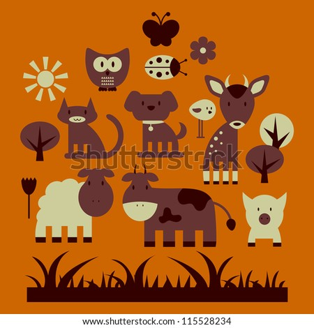 Set of cute animals and nature elements - stock vector