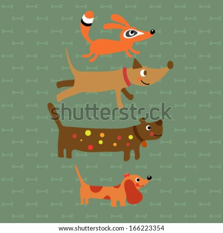 Set of Cute Animals. Vector illustration - stock vector