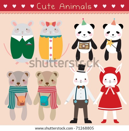 Set of Cute Animals. Vector Illustration. - stock vector