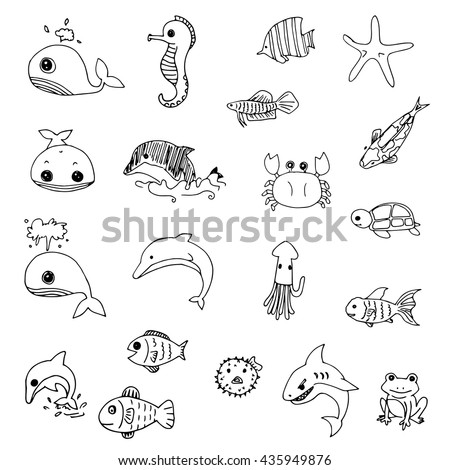 set of cute aquatic animals drawing vector black line doodle of free hand drawing - Free Line Drawings Of Animals