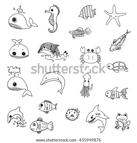 Set Cute Aquatic Animals Drawing Vector 435949876