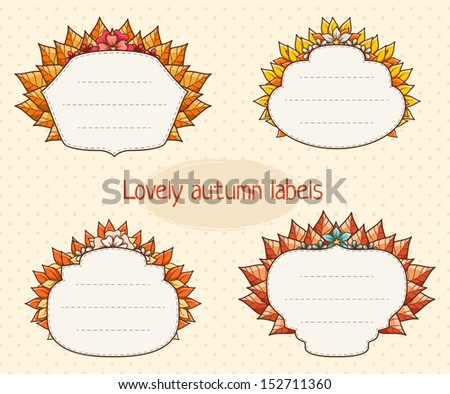 Set of cute autumn labels with leaves and flowers. - stock vector