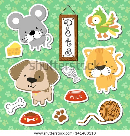 set of cute baby animals stickers on seamless pattern background, in vector format very easy to edit, individual objects - stock vector