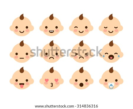 set cute baby emoticons very simple stock vector royalty free