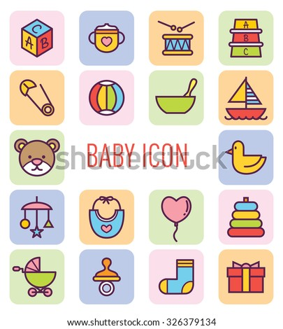 set of cute baby icon - stock vector