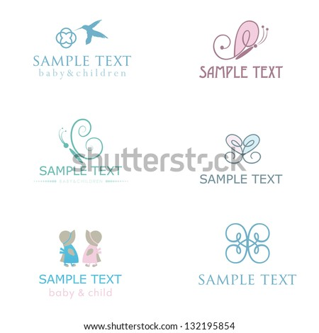 Set of cute baby icons in pastel colors. - stock vector