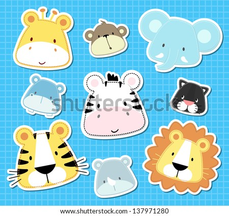 set of cute baby safari animals heads, in vector format very easy to edit, individual objects - stock vector