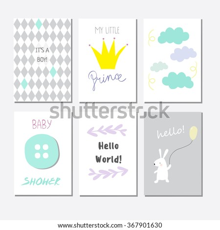 Set of cute baby shower invitation cards for newborn boy, it's a boy - stock vector