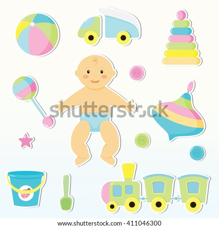 Set of cute baby toy stickers. Design elements for baby shower card, scrapbook, invitation. Stickers collection:car,a top,a ball,bucket,scoop,buttons,engines,children's pyramid,sand pail, shovel. - stock vector