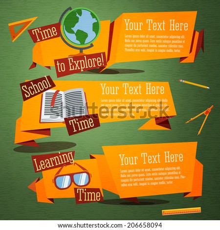 Set of cute back to school banners with globe, text book, glasses. With place for your advertisement text. Vector - stock vector