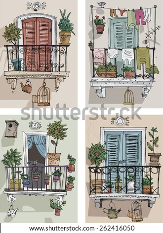 set of cute balcony - cartoon - stock vector