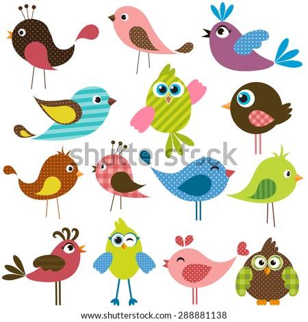 set of cute birds - stock vector
