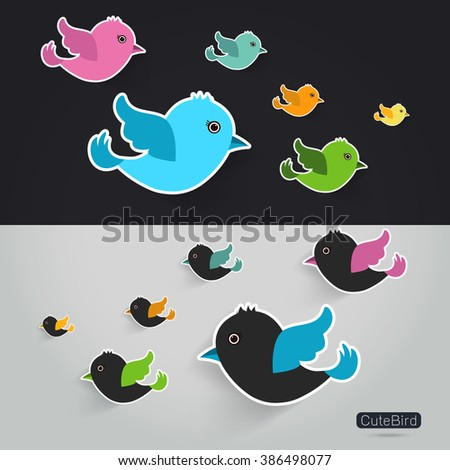 Set of cute birds icons,Vector illustration
