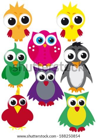 Set of cute birds. Vector - stock vector
