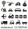 Set of cute black vector transport icons isolated - stock vector