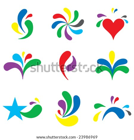Set of cute branding icons and design elements - stock vector