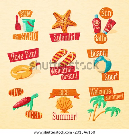 Set of cute bright summer icons with typographic elements. Sand paddle with bucket, starfish, tan and suncare cream, slippers, beach ball, turtle, sea shell, palms. Vector. - stock vector