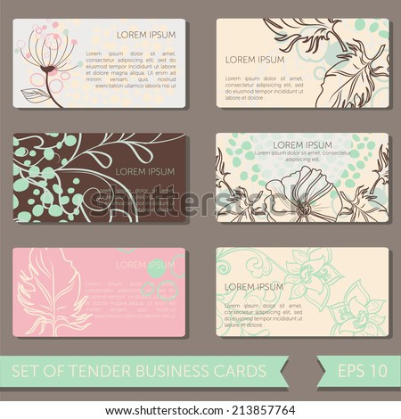 set of cute business cards templates, vector illustration - stock vector