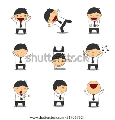 set of cute businessman happy in various poses for use in presentations, etc - stock vector