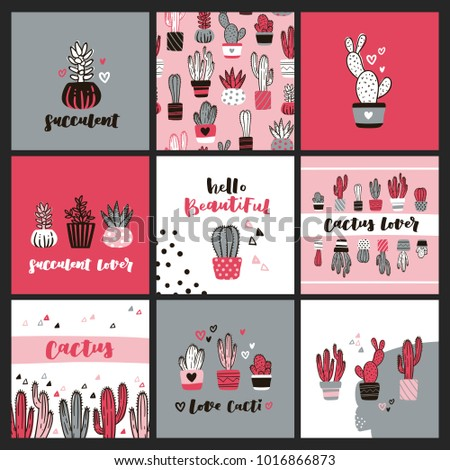 Set cute cactus lover greeting cards stock vector 1016866873 set of cute cactus lover greeting cards collection of templates with succulents in flower pots m4hsunfo