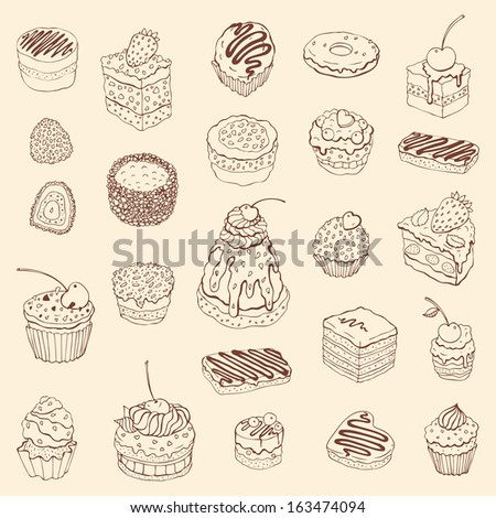 Set of cute cake. Outline Vector illustration