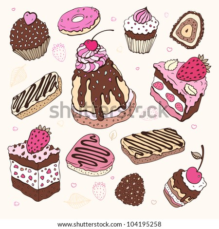 Set of cute cake. Vector illustration - stock vector
