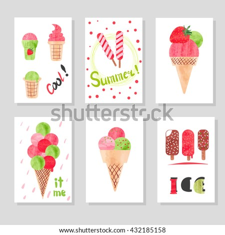 Set of cute card templates with watercolor ice cream for design. Suitable for birthday, party invitations. Hand drawn vector illustration.
