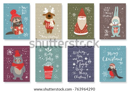 Set of cute cards with hand drawn animals and Christmas greetings. Vector illustration.