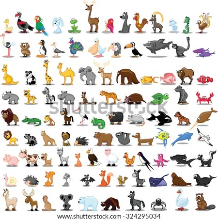 Set of 100 cute cartoon animals - stock vector
