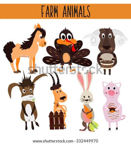 Set of Cute cartoon Animals and birds of the farm on a white background. Donkey, sheep, horse, pig, poultry, Turkey, goat, rabbit with carrot . Vector illustration - stock vector