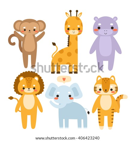 set of cute cartoon animals. Illustration of cute monkey, giraffe, hippo, lion, elephant and tiger. Can be used like stickers or for birthday cards and party invitations - stock vector