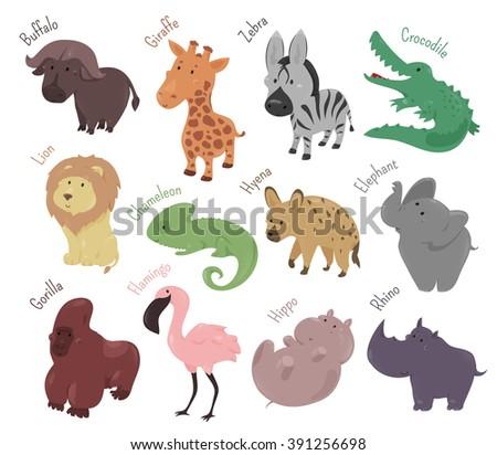 Set of cute cartoon animals isolated on white background. Vector illustration for zoo. Wild savannah baby animal icon. Lion, buffalo, flamingo, hippo, rhino, elephant gorilla giraffe african character - stock vector