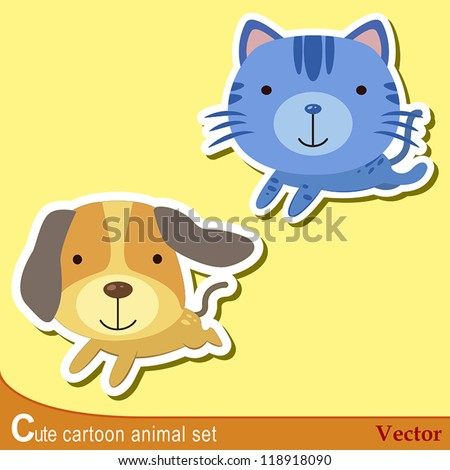 set of cute cartoon animals with dog,and cat. - stock vector