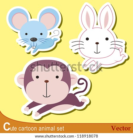 set of cute cartoon animals with mouse, rabbit,and monkey.