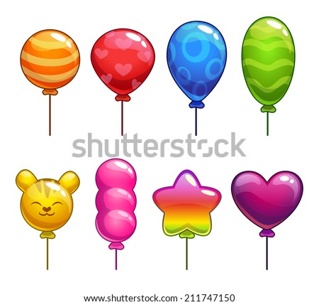Set of cute cartoon balloons, with different shapes and colors - stock vector