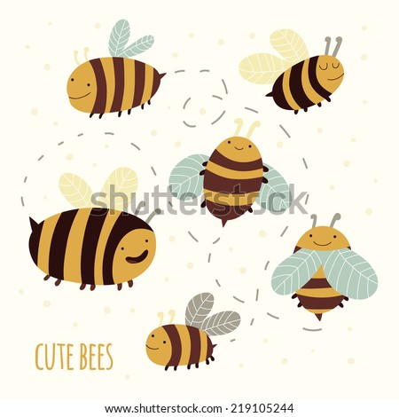 Set of cute cartoon bees. Funny happy bee characters for kids - stock vector