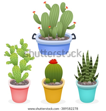 set of cute cartoon cactus into pots on white background. can be used like stickers, for greeting cards or posters
