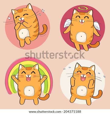 Set of cute cartoon cat in various poses - stock vector
